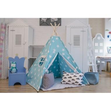 Tipi/ namiot do pokoju lub ogrodu, dla dziecka- turkusowy w gwiazdki.