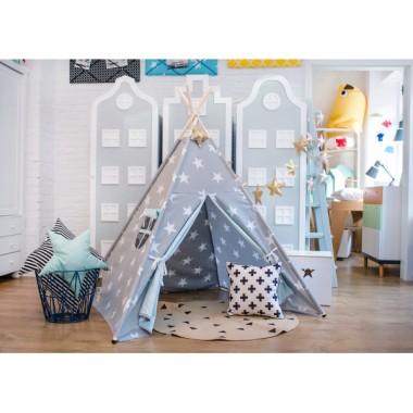 Namiot tipi-do pokoju dziecięcego, z drewnianym stelażem.Teepee.Szara bawełna w duże białe gwiazdy.