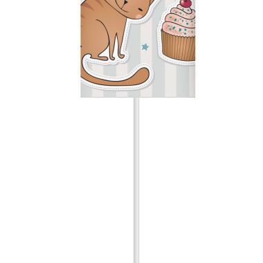 Lampka nocna z nadrukiem-kolorowy abażur z kotkiem.