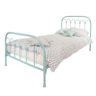 Metalowe turkusowe łóżko dla dziewczynki