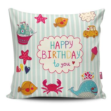 Miękka ozdobna poduszka z kolorowym nadrukiem- dla dziecka. Idealna na urodzinowy prezent.