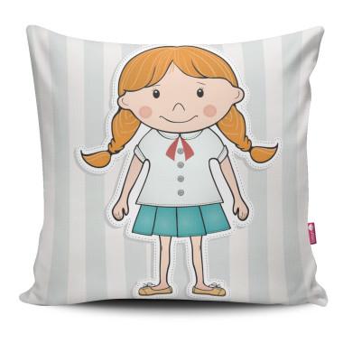 Miękka ozdobna poduszka z kolorowym nadrukiem dziewczynki- dla dziecka
