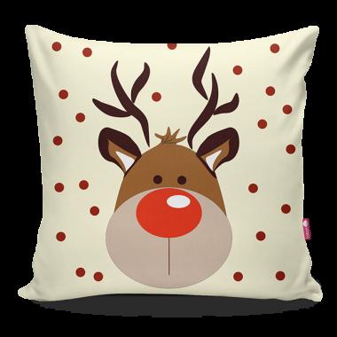Miękka ozdobna poduszka z kolorowym nadrukiem świątecznym/zimowym-do dziecięcego pokoju.
