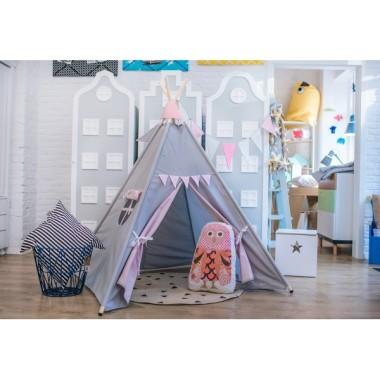 Namiot tipi-do pokoju dziecięcego, z drewnianym stelażem.Teepee.Szara bawełna w białe 2mm kropeczki.
