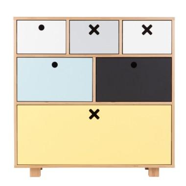 Ciekawa komoda z motywem kółka i krzyżyka do pokoju dziecięcego, salonu, sypialni a nawet przedpokoju