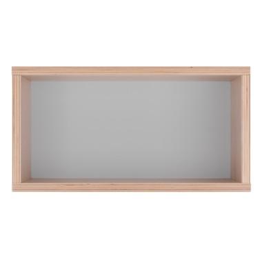 Półka obrazek z szarym tłem.