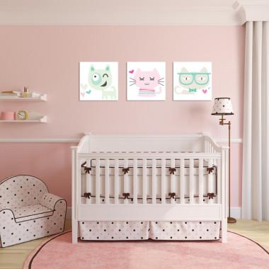 KOTY XXL miętowy, różowy i beż -- komplet obrazów do pokoju dziecka