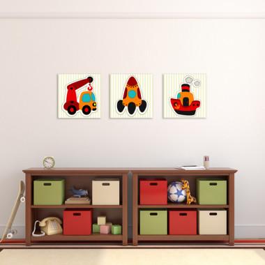 SAMOCHÓD STATEK I RAKIETA XXL -- komplet obrazów do pokoju dziecka