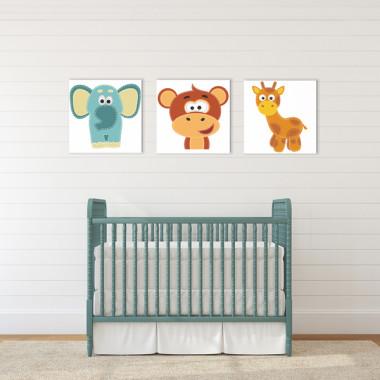 SŁONIK ŻYRAFKA I MAŁPKA XXL - komplet obrazów do pokoju dziecka