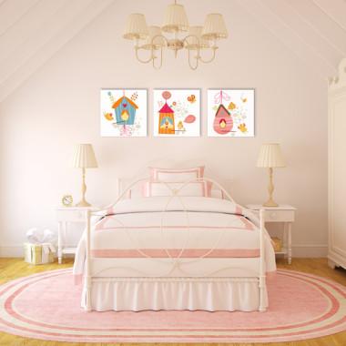 BUDKI DLA PTASZKÓW XXL -- komplet obrazów do pokoju dziecka