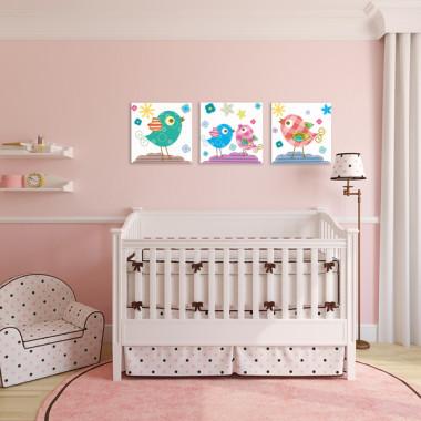 WESOŁE PTASZKI XXL -- komplet obrazów do pokoju dziecka