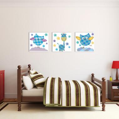 SÓWKI I ŻYRAFA XXL -- komplet obrazów do pokoju dziecka