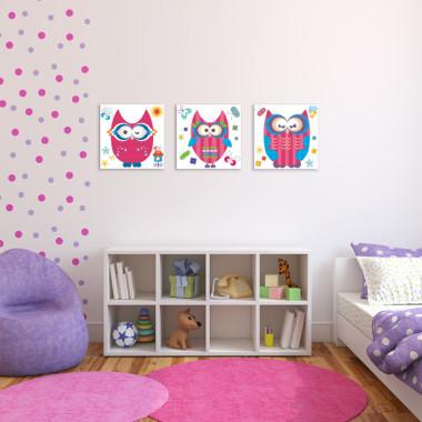 RÓŻOWE SOWY XXL -- komplet obrazów do pokoju dziecka