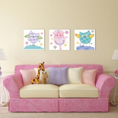 SOWY I ŻYRAFA XXL -- komplet obrazów do pokoju dziecka