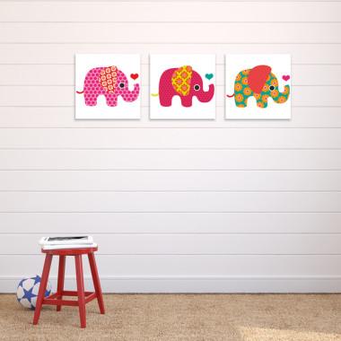 WESOŁE SŁONIE XXL -- komplet obrazów do pokoju dziecka