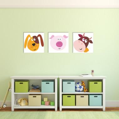 KOLOROWA FARMA XXL -- komplet obrazów do pokoju dziecka