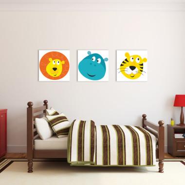 KOLOROWE SAFARI XXL -- komplet obrazów ze zwierzętami do pokoju dziecka