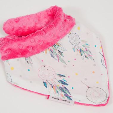 Apaszka, chustka dla dziecka minky - fuksjowe łapacze snów