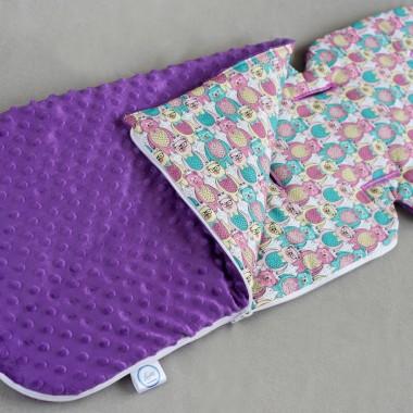 Wkładka do wózka-letni śpiworek fioletowy