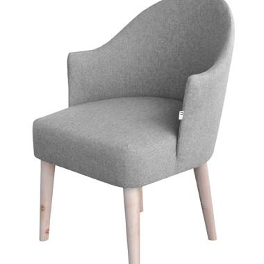 Oryginalny szary fotel z podłokietnikami inspirowany wzornictwem lat 60-tych
