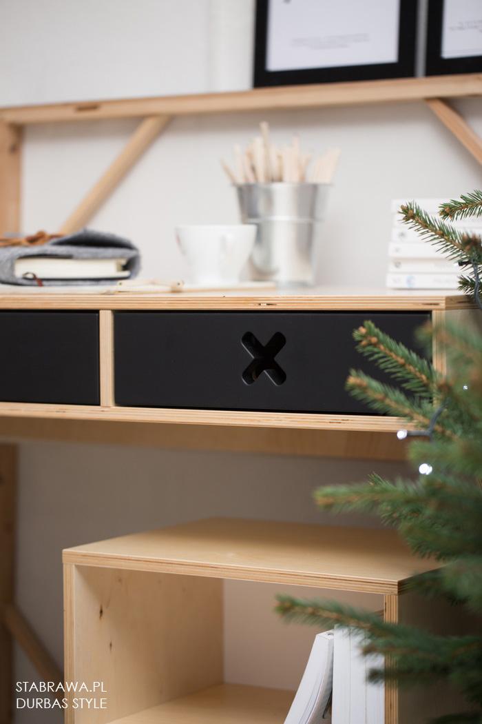 Czarne drewniane nowoczesne biurko do pokoju dziecięcego, gabinetu. Nowoczesny design, Kolekcja kółko i krzyżyk