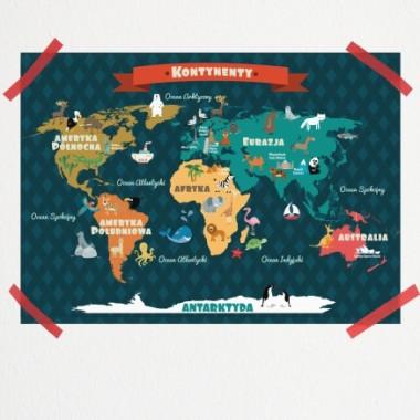 Plakat dla dziecka - Mapa Kontynentów