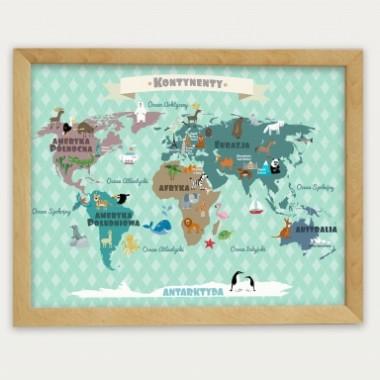 Plakat dla dziecka- Miętowa Mapa Kontynentów
