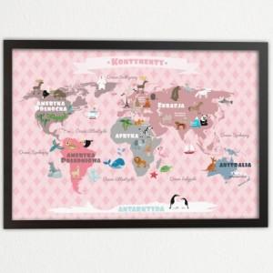 Plakat dla dziecka-Różowa Mapa Kontynentów