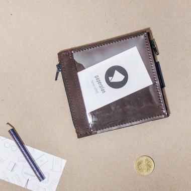 Pocket MIDI / Brown - portfel ze skóry