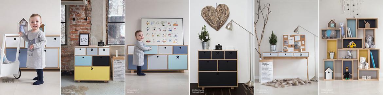 Kolekcja Kółko i krzyżyk -  nowoczesne uniwersalne mebli, które nadają sie zarówno do pokoju dziecięcego jak i  do salonu, sypialni czy przedpokoju
