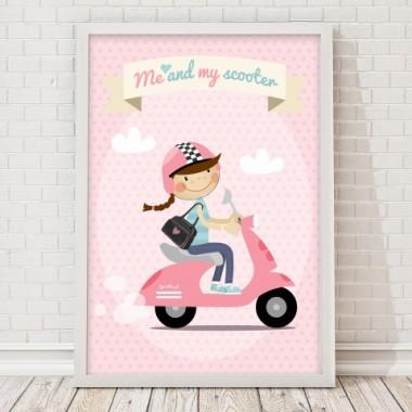 Plakat na ścianę do pokoju dziecka Plakat Scooter Różowy