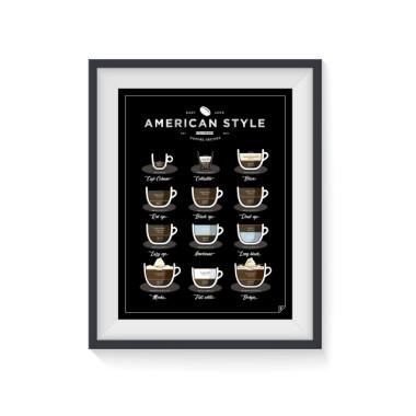 """Plakat """"American Style Coffee"""" przedstawia 12 przepisów na świetną amerykańską kawę. Plakat do kuchni, kawiarni lub jadalni."""