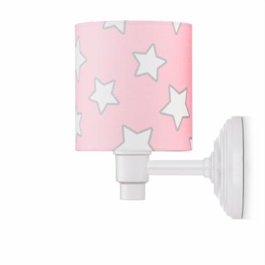 Kinkiet różowy w gwiazdy do pokoju dziewczynki.