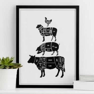 Czarno-biały plakat do kuchni.Designerski i nowoczesny.