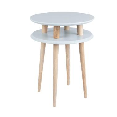 jasnoszary okrągły stolik kawowy ragaba wysokość 61cm, średnica 45cm