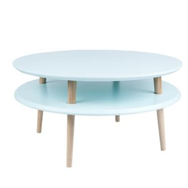 Kolorowy, okrągły, niski stolik kawowy, idealny również do pokoju dziecka. Niebieski/turkusowy jasny