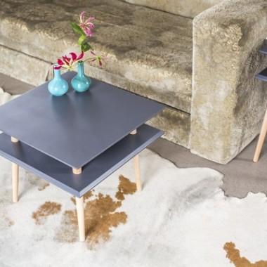 Nowoczesny, kwadratowy stolik kawowy/ ława do salonu lub pokoju dziecka. Grafitowy.
