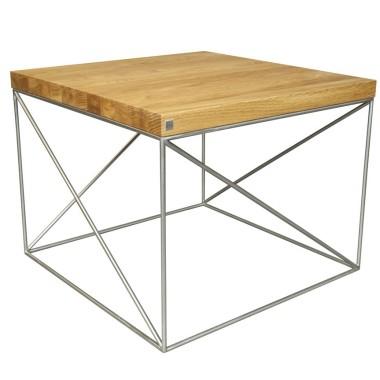 Srolik kawowy loft industrialny-drewniany, podstawa ze stali.