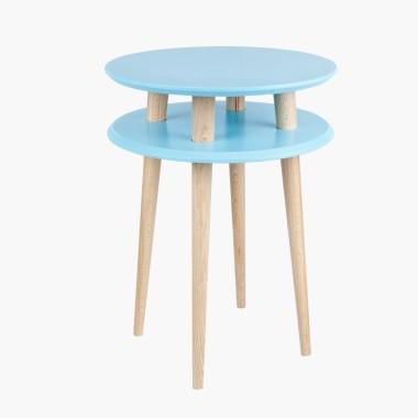 turkusowy okrągły stolik kawowy ragaba wysokość 61cm, średnica 45cm