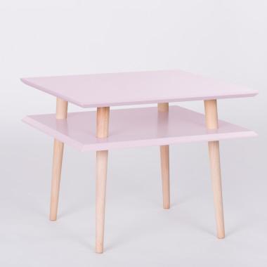 Nowoczesny, kwadratowy stolik kawowy/ ława do salonu lub pokoju dziecka. Jasnoróżowy.