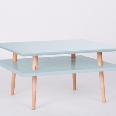 Nowoczesny, kwadratowy stolik kawowy/ ława do salonu lub pokoju dziecka. jasny turkus