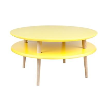 Kolorowy, okrągły, niski stolik kawowy, idealny również do pokoju dziecka. Żółty