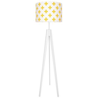 Lampa podłogowa stojąca-trójnóg biały. youngDeco.Krzyżyki żółte