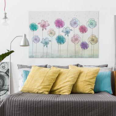 Ogród pozytywnych wibracji - nowoczesny obraz na płótnie do salonu, jadalni, sypialni lub przedpokoju. Loft, scandi.Vaku.