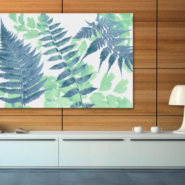 Anatomia zieleni - nowoczesny obraz na płótnie do salonu, jadalni, sypialni lub przedpokoju. Loft, scandi.Vaku.e do salonu, jadalni, sypialni lub przedpokoju. Zielono- niebieski.