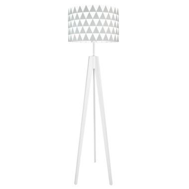 Lampa podłogowa stojąca-trójnóg bialy. youngDeco.Szare trójkąty.