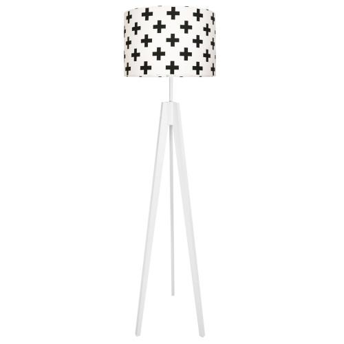 Lampa podłogowa stojąca-trójnóg biały. youngDeco.Krzyżyki/plusy czarne