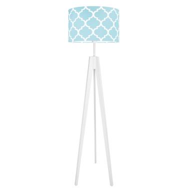 Lampa podłogowa stojąca-trójnóg bialy. youngDeco.Koniczyna marokańska turkusowa