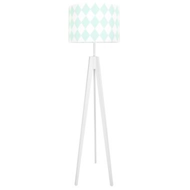Lampa podłogowa stojąca-trójnóg biały. youngDeco.Romby miętowe.