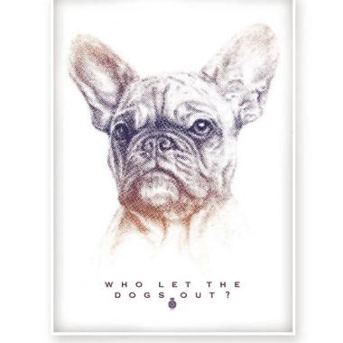 Plakat dla miłośników pięknych Buldogów francuskich
